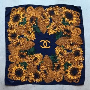 CHANEL PARIS SUNFLOWER SILK SCARF NAVY AND GOLD